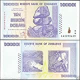 Zimbabwe 10 Billion Dollar Banknote, 2008 Issue, P-85, UNC, 50 & 100 Trillion Series, Currency