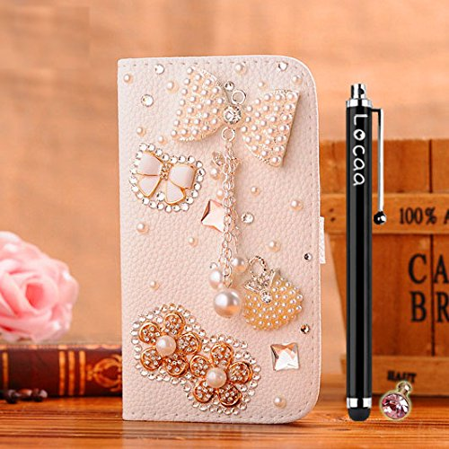 Locaa(Tm) Lg G2 Lgg2 3D Bling Case + Phone Stylus + Anti-Dust Ear Plug Deluxe Luxury Crystal Pearl Diamond Rhinestone Eye-Catching Beautiful Leather Retro Support Bumper Cover Card Holder Wallet Cases - [General Series] Bowknot Pendant2