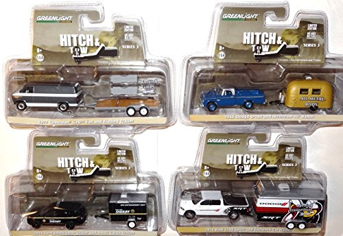 GREENLIGHT 2015 HITCH & TOW RELEASE 3 COMPLETE 4 TRUCK SET *SALE* (1 18 Enclosed Trailer compare prices)