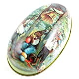 Vintage Easter Eggs Tin Metal Rabbit Litho Gift Wedding Candy box - Green