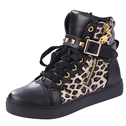 T&Grade Womens Fashion Comfortable Skull Lace Up Buckle Zipper Skull Sports Canvas Sneakers Shoes(8.5 B(M) US, Blackleopard)