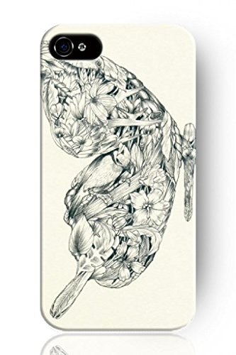 Sprawl New Beautiful Clear Vintage Design Personalized Hard Plastic Snap On Slim Fit Floral Butterfly Sketch Iphone 4 4S Case front-225497