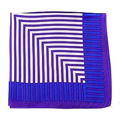 PS-A-534 - Silk Pocket Square - Purple - White - Blue