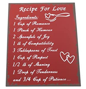 Tin Plaques for Life - Recipe for Love