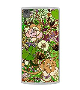 Flower Pattern 2D Hard Polycarbonate Designer Back Case Cover for OnePlus X :: One Plus X :: One+X
