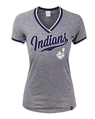 MLB Cleveland Indians Tri-Blend Baby Raglan SS V-Neck Jersey