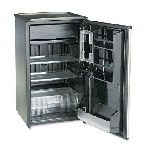 Sanyo Products - Sanyo - Counter Height Office Refrigerator w/Crisper, 3.7 Cu. Ft., Black/Stainless Steel - Sold As 1 Each - Full-range temperature control. - Manual defrost polyurethane foam insulated, 2001 energy compliant. - Triple-decker door storage with smooth-back design. - Black interior with three slide-out shelves. - Glass-lidded crisper; top serves as a fixed shelf.