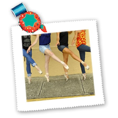 3Drose Qs_9990_2 Photo Professional Ballerinas Dressed Up With Street Clothing But Wearing Ballet Shoes-Quilt Square, 6 By 6-Inch