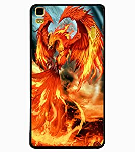 ColourCraft Flaming Dragon Design Back Case Cover for LENOVO A7000
