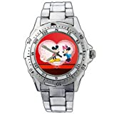 EPSP384 Mickey Minnie Mouse Valentine's Day Red Heart Stainless Steel Wrist Watch