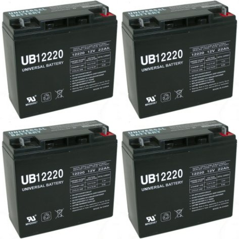 Ut12220 12V 22Ah Earthwise Electric Lawn Mower Battery Replaces 24V Battery - 4 Pack