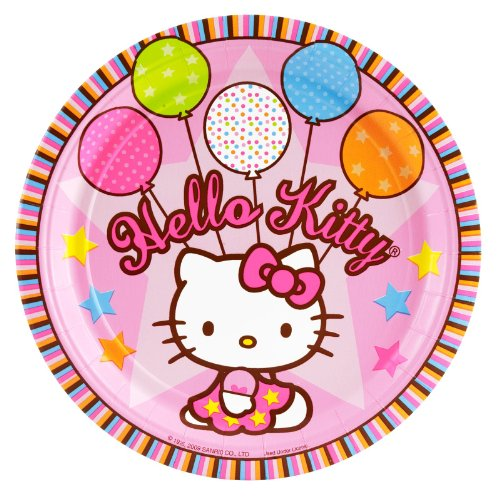 "Amscan Hello Kitty Balloon Dreams 9"" Paper Plates"