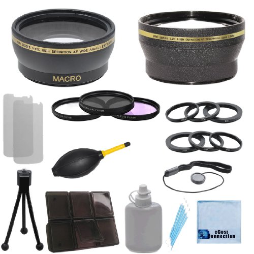 37Mm 0.43X Wide Angle Lens + 2.2X Telephoto Lens + 3 Pieces Filter Sets With Deluxe Lens Accessories Kit For Jvc Everio Gz-Hm550 Hd Camera & Ring Adapters