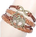 The Hunger Games Bracelet Katniss Everdeen Mockingjay Birds Infinity Bracelet Leather