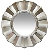 Brussels Resin Art Deco Frilled Silver Accent Wall Mirror 20.00 In.