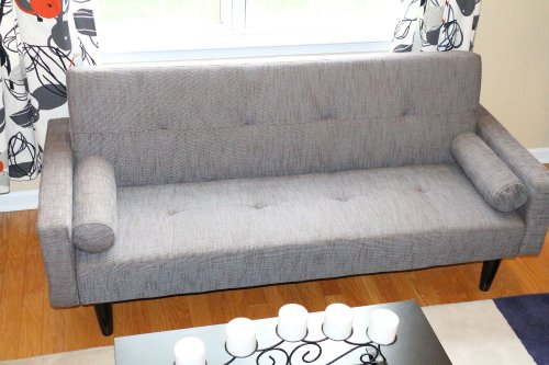 Read About Grey Speckle Convertible Sofa High Quailty High Density Futon Klik Klak Modern