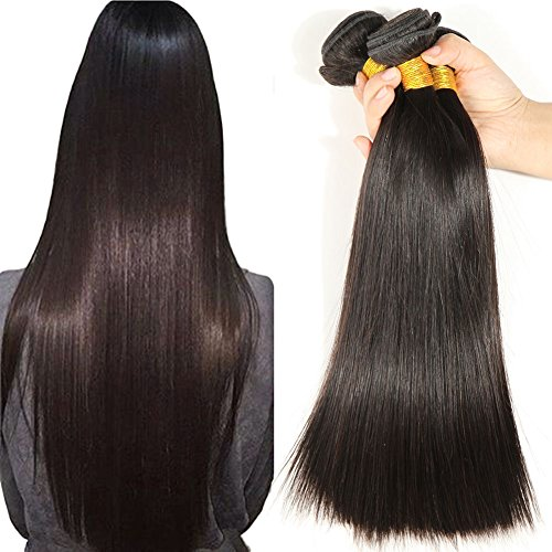 [Beautyplus Hair Grade 7A Brazilian Yaki Straight Hair 3 Bundles (20 20 20 Inch) Can Be Hot Dye Natural Black Color Unprocessed Virgin Human Hair] (Wild Curl Black Wig)