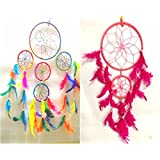SWS Two Multi Dream Catcher Wall Hanging Pack (One Multi Four Circle Dream Catcher & One Pink Two Circle Dream Catcher) - Attract Positive Dreams & Positive Thinking (For Home / Office / Institute / Shop / Hostel / PG / Hotels / Restaurants) - Bes
