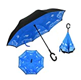 Aweoods Inverted Umbrella Windproof Reverse Folding Double Layer Travel Umbrella with C Shape Handle (Sky Blue)