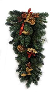 """30"""" Pre-Decorated Gold Pine Cone Artificial Christmas Teardrop Swag - Unlit"""