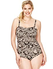 Plus Ultimate Tummy Control Faux Snakeskin Print Swimsuit