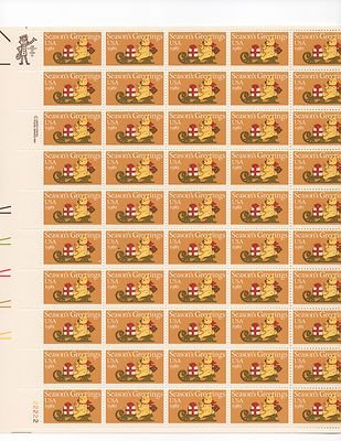 Seasons Greeting Bear on Sleigh Sheet of 50x20 Cent US Postage Stamps Scot 1940