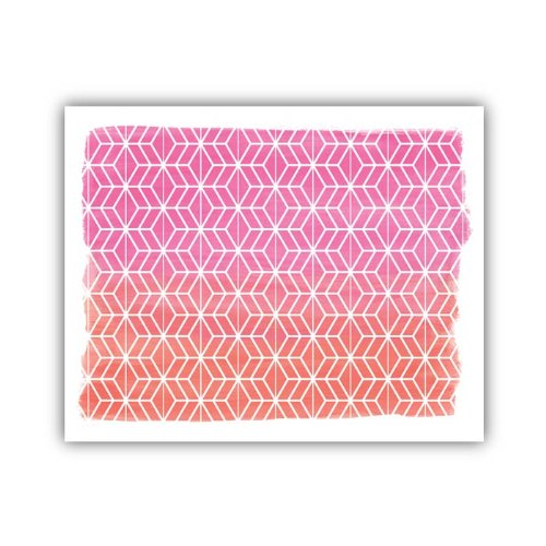"Lucy Darling Geometric Watercolor Print Wall Decor, Pink/Orange, 8"" x 10"""