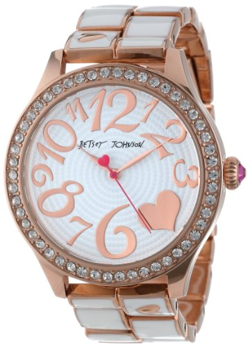 Betsey Johnson Women's BJ00198-03  Analog Rose Gold and White Strap Watch