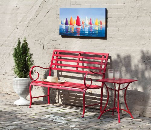 Red Metal Garden Bench