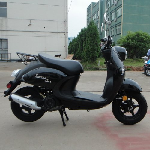 Verona TPGS-827 BLACK 49cc Gas 4 Stroke Moped Scooter w/ Rear Luggage Rack