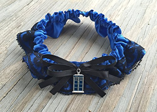 Doctor Who Tardis Police Box Royal Blue & Black Lace Layered Bridal Satin Wedding Garter Keepsake Or Garter Set Something Blue