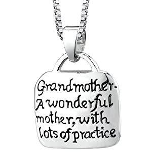 "Sterling Silver ""Grandmother A Wonderful Mother With Lots Of Practice"" Square Pendant, 18"""