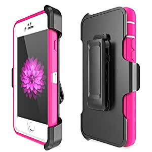 iPhone 6 Case,[Heavy Duty][Shock proof Protection][Premium Rugged][4 in 1 Design] Rugged Holster Cover,Slim Rugged Durable Protective Case with Kickstand,(Pink),Ptuna