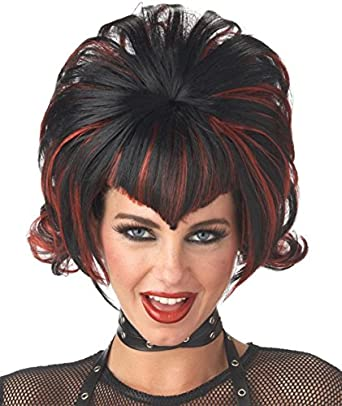 Black/Burgundy Goth Flip Wig Costume Item