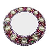 Decorative Indian Mirror Home Decor Table Top Antique Small Round Pouch Mirror Beaded Material Pink Handmade Mirror Christmas Gift For Her