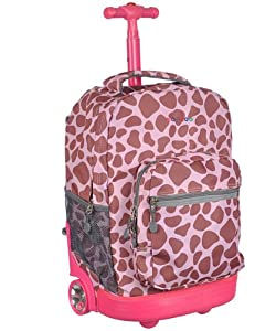 J World New York Sunrise Rolling Backpack (PINK ZULU)