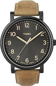 Timex - T2N677D7 - Timex Heritage Easy Reader - Montre Mixte - Quartz Analogique - Cadran Noir - Bracelet Cuir Marron de Timex