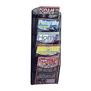 Safco Products 5578BL Onyx Mesh Magazine Wall Rack, 5 Pocket , Black