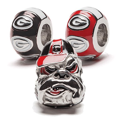University of Georgia Bulldog and Round Bead Charm Set of Three - For Bracelet or Necklace