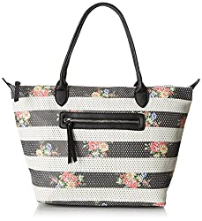 Dolce Girl Floral Perforated Travel Tote, Black/White, One Size