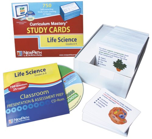 Newpath Learning Middle School Life Science Study Card, Grade 5-9