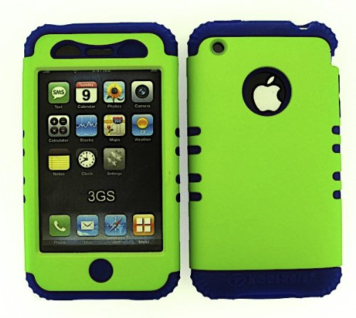 Shockproof Hybrid Cell Phone Cover Protector Faceplate Hard Case And Dark Blue Skin With Mini Stylus Pen. Kool Kase Rocker For Apple Iphone 3G 3Gs Green Db-A008-Pd