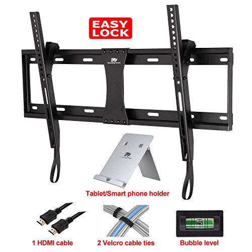 Mounting Dream® Md2268-Lk Tilt Tv Wall Mount Bracket For 40-70 Inches Tvs With Vesa 200X100 To 600X400Mm, Loading Capacity 132 Lbs, 0-10 Degree Forward Tilt, Including 6 Ft Hdmi Cable, Magnetic Bubble Level And Tablet/Smart Phone Holder As Bonus(For Samsu