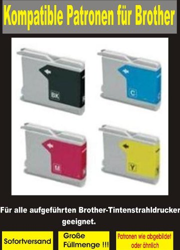 5 kompatible Patronen ( 2x bk, 1x cy,ma,ye ) f&#252;r diese Brother-Drucker: MFC- 235C / 240C / 245C / 260C / 440CN / 465CN / 660CN / 665CW / 680CN / 3360C / 5460CN / 5860CN / 845CW - DCP-130C / 135C / 150C / 330C / 350C / 357C / 540CN / 560CN / 750CW / 770CW - FAX-2480C / 1360C / 1860C / 1960C