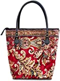 AMENITY Blossom Red - Zip fastened Vintage-Style Tote CARPET Bag