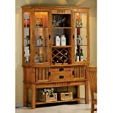 Mission Style Medium Brown Finish Solid Wood China Cabinet Buffet Hutch