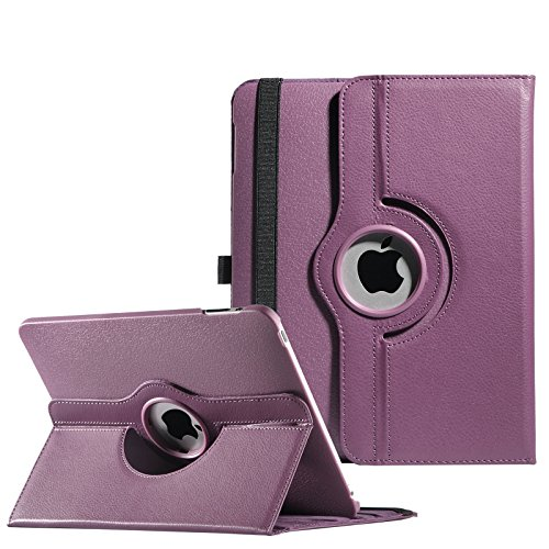 Pandamimi ULAK(TM) 360 Rotating PU Leather Folio Stand Case Cover for Apple iPad 1 1st Generation with Stylus and Screen Protector-Purple