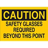 "Brady 22592 Plastic Eye Protection Sign, 7"" X 10"", Legend ""Safety Glasses Required Beyond This Point"""