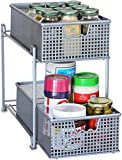 DecoBros Two Tier Mesh Sliding Cabinet Basket Organizer Drawer, Silver
