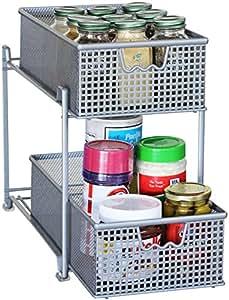DecoBros Two Tier Mesh Sliding Cabinet Basket Organizer Drawer,Silver
